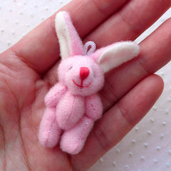 Pink Bunny / Fabric Rabbit Doll Charm (1pc / 25mm x 55mm) Kawaii Fabric Animal Jewellery DIY Keychain Handbag Purse Dust Plug Charm CHM2266