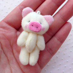 Kawaii Fabric Pig Doll Charm (1pc / 30mm x 50mm) Fabric Animal Doll Charm Handbag Purse Phone Dust Plug Keychain Key Ring Charm CHM2267