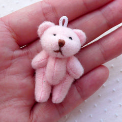 Soft Plush Bear Doll Charm (1 piece / 23mm x 43mm / Pink) Fabric Animal Doll Charm Phone Keychain Handbag Purse Charm Cute Ornaments CHM2268