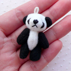 Soft Plush Panda Doll Charm (1 piece / 25mm x 40mm) Fabric Animal Doll Charm Kawaii Ornaments Phone Key Chain Purse Handbag Charm CHM2269