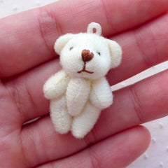 Bear Doll Charm (1 piece / 21mm x 32mm / White) Soft Plush Toy Charm Fabric Animal Ornament Keychain Purse Handbag Phone Charm CHM2271
