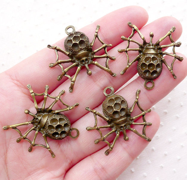 Halloween Spider Charms (4pcs / 28mm x 28mm / Antique Bronze) Spooky Creepy Jewelry DIY Insect Pendant Halloween Party Decoration CHM2273