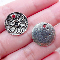 Floral Tag Charms (6pcs / 16mm / Tibetan Silver) Flower Charm Spring Jewellery DIY Favor Embellishment Card Making Add On Charm CHM2275
