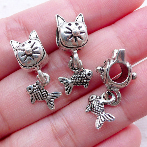 Cat Beads with Fish (3pcs / 10mm x 22mm / Tibetan Silver / 2 Sided) Cute Animal Bead Big Hole Focal Bead European Bracelet Making CHM2276
