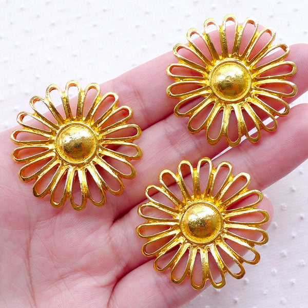 Large Sunflower Connector Charms (3pcs / 34mm / Gold) Necklace Bracelet Link Floral Charm Flower Jewelry Making Spring Scrapbooking CHM2278