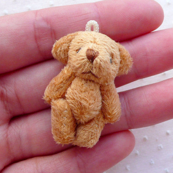 Soft Plush Toy Bear Doll Charm (1 piece / 25mm x 40mm / Brown) Fabric Doll Charm Animal Ornament Phone Keyring Purse Handbag Charm CHM2270