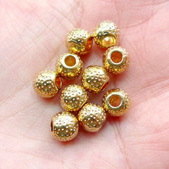 Small Golden Spacer Beads (10pcs / 7mm x 6mm / Gold) Bracelet Necklace Making Metal Slide Charm Slider Round Barrel Bead Findings CHM2274