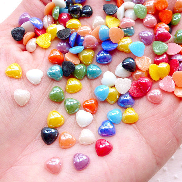 Small Puffy Heart Ceramic Cabochon (50pcs / 6mm / Colorful Mix / Flatback) Kawaii Little Heart Decoration Scrapbook Decoden Card Making CAB525