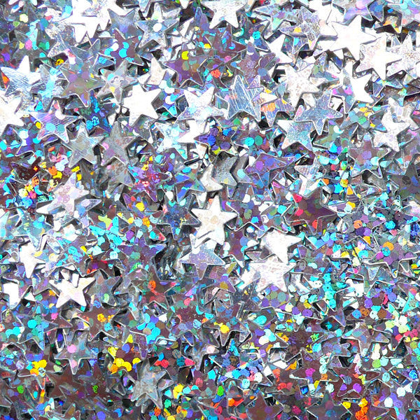 Silver Star Confetti / Star Sequin / Star Sprinkles / Star Glitter / Fake Toppings / Mini Star (AB Silver / 6mm / 3g) Scrapbooking SPK93