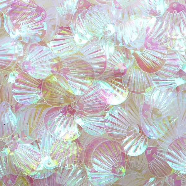 Shell Sequin / Seashell Confetti (AB Transparent / 13mm x 14mm / 4g) Beach Decoration Card Embellishment Scrapbooking Sewing Supply SPK98