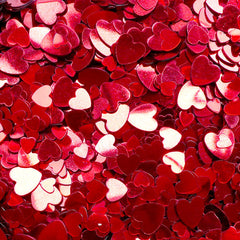 Red Heart Sequin / Small Heart Confetti / Heart Sprinkles / Heart Glitter / Fake Toppings (Assorted Mix / 4mm, 6mm & 8mm / 4g) Wedding SPK99