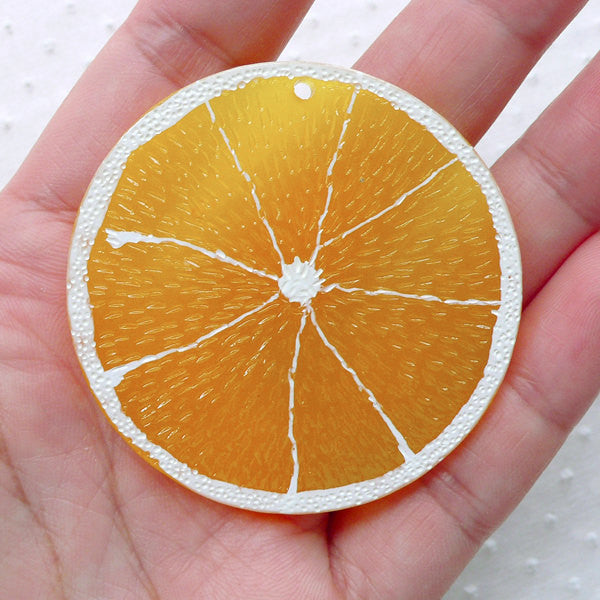 Big Orange Charm / Large Citrus Pendant / Fruit Slice Resin Cabochon Charm (1 piece / 49mm / Translucent Orange) Kawaii Decoden CHM2280