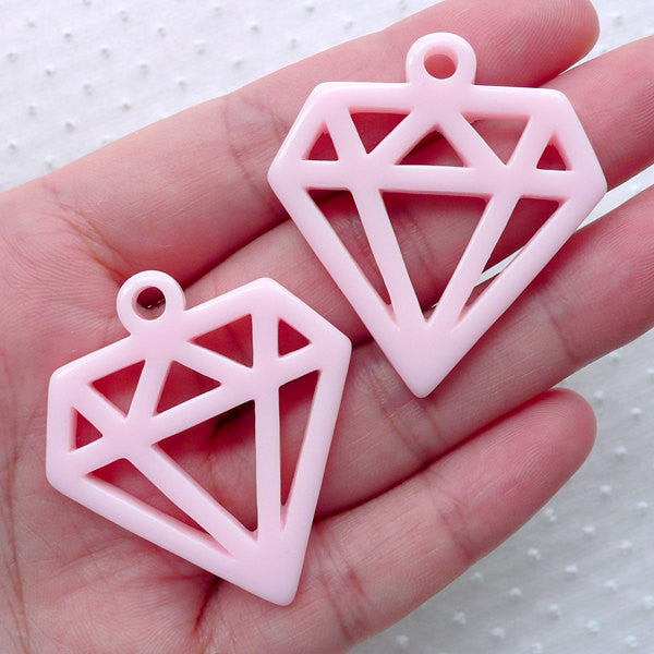 Diamond Geometric Outline Charms / Hollow Diamond Cabochon Charm (2pcs / 36mm x 40mm / Light Pink) Kawaii Jewelry DIY Phone Decoden CHM2281