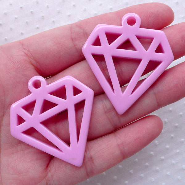 Geometric Diamond Outline Cabochon Charm / Hollow Diamond Charms (2pcs / 36mm x 40mm / Purple) Cute Kitsch Jewellery Kawaii Deco CHM2282