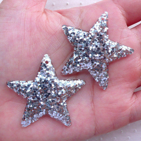 Confetti Star Charm / Star Cabochon Charms with Glitter Sequin (2pcs / 39mm x 38mm / Silver) Cute Jewelry Kitsch Decoden Kawaii Deco CHM2285