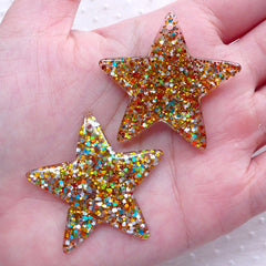 Colorful Glitter Confetti Star Cabochon / Star Charms with Sequin (2pcs / 39mm x 38mm / Gold) Decoden Phone Case Whimsical Deco CHM2289