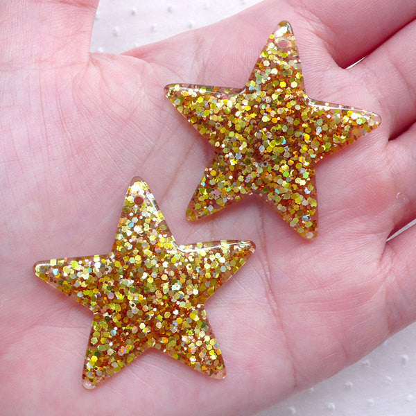 Glitter Star Charm / Bling Star Cabochon Charms with Confetti (2pcs / 39mm x 38mm / Gold) Kitsch Jewellery Kawaii Decoden Cute Deco CHM2284
