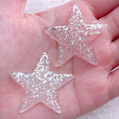 Confetti Star Cabochon Charm / Star Charms with Glitter Sequin (2pcs / 39mm x 38mm / AB Clear) Cute Embellishment Kawaii Decoration CHM2286