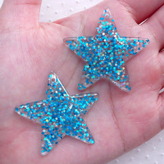 Sequin Star Charm / Star Resin Cabochon Charms with Glitter Confetti (2pcs / 39mm x 38mm / Blue) Kawaii Phone Case Deco Whimsical CHM2288