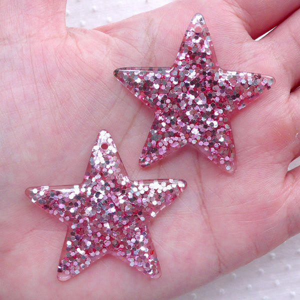 CLEARANCE Decoden Piece / Sprinkle Star Charms w/ Sequin / Glitter Star Cabochon w/ Confetti (2pcs / 39mm x 38mm / Pink) Kawaii Bling Jewelry CHM2290