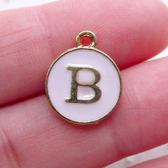 Letter B Charm Enamel Charm (1 piece / 13mm x 15mm / Gold & Pink) Initial Charm Alphabet Charm Personalized Jewelry Gift Decoration CHM2292