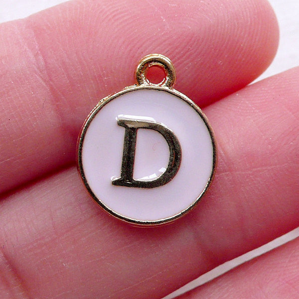 Initial D Charm Enamel Charm (1 piece / 13mm x 15mm / Gold & Pink) Alphabet Charm Letter Charm Personalised Jewelry Favor Packaging CHM2294