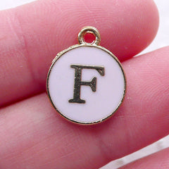 Alphabet F Charm Enamel Charm (1 piece / 13mm x 15mm / Gold & Pink) Letter Charm Initial Charm Personalized Jewelry Favor Decoration CHM2296