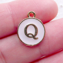 Letter Q Charm Enamel Charm (1 piece / 13mm x 15mm / Gold & Pink) Alphabet Charm Initial Charm Personalized Jewellery Purse Charm CHM2307