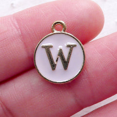 Letter W Charm Enamel Charm (1 piece / 13mm x 15mm / Gold & Pink / 2 Sided) Alphabet Charm Initial Charm Personalised Jewellery CHM2313