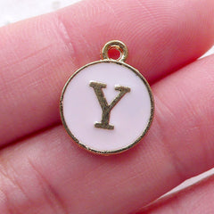 Initial Y Charm Enamel Charm (1 piece / 13mm x 15mm / Gold & Pink / 2 Sided) Letter Charm Alphabet Charm Personalized Jewellery CHM2315