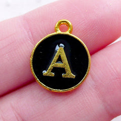 Letter A Charm (1 piece / 13mm x 15mm / Gold & Black / 2 Sided) Initial Enamel Charm Alphabet Charm Kawaii Personalized Jewellery CHM2317
