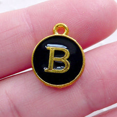 Alphabet B Charm (1 piece / 13mm x 15mm / Gold & Black / 2 Sided) Initial Enamel Charm Letter Charm Elegant Personalized Jewelry CHM2318