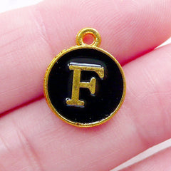 Initial F Charm (1 piece / 13mm x 15mm / Gold & Black / 2 Sided) Letter Enamel Charm Alphabet Charm Personalized Jewelry Key Chain CHM2322