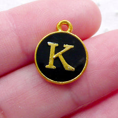 Alphabet K Charm (1 piece / 13mm x 15mm / Gold & Black / 2 Sided) Letter Enamel Charm Initial Charm Personalized Gift Decoration CHM2327