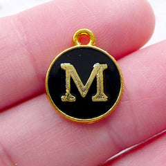 Letter M Charm (1 piece / 13mm x 15mm / Gold & Black / 2 Sided) Initial Enamel Charm Alphabet Charm Cute Personalized Decoration CHM2329