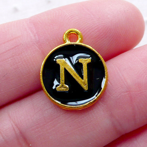 Alphabet N Charm (1 piece / 13mm x 15mm / Gold & Black / 2 Sided) Initial Enamel Charm Letter Charm Personalised Favor Packaging CHM2330