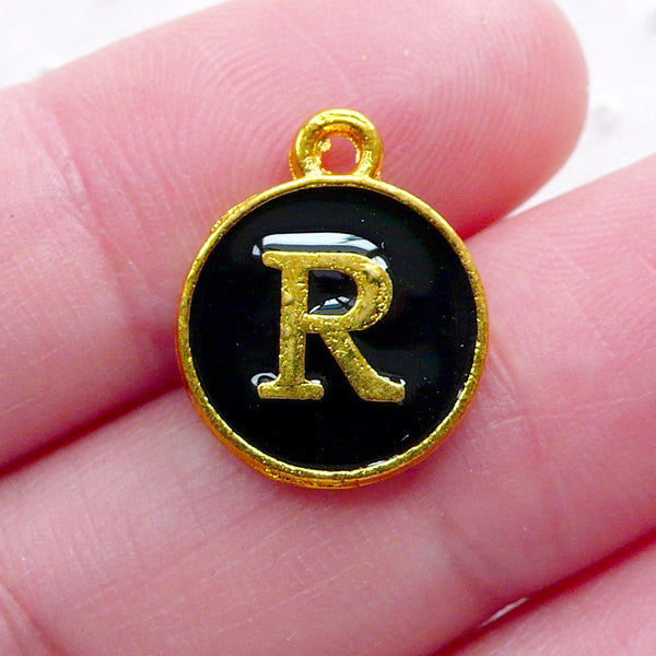 Initial R Charm (1 piece / 13mm x 15mm / Gold & Black / 2 Sided) Letter Enamel Charm Alphabet Charm Personalized Handbag Charm CHM2334