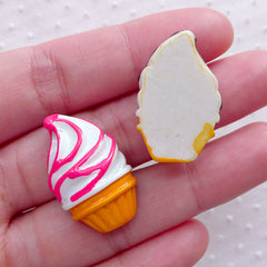 Kawaii Ice Cream Sundae Cabochon (2pcs / 17mm x 27mm / Chocolate & Strawberry / Flatback) Decoden Embellishment Whimsical Decoration FCAB428