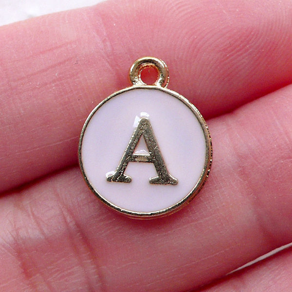 Initial A Charm Enamel Charm (1 piece / 13mm x 15mm / Gold & Pink) Letter Charm Alphabet Charm Personalized Jewellery Gift Packaging CHM2291