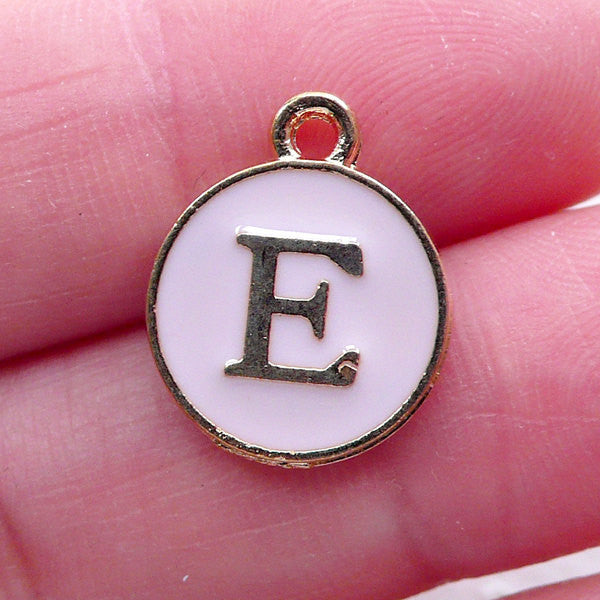 Letter E Charm Enamel Charm (1 piece / 13mm x 15mm / Gold & Pink) Alphabet Charm Initial Charm Personalized Jewellery Decoration CHM2295