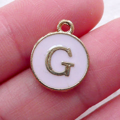Initial G Charm Enamel Charm (1 piece / 13mm x 15mm / Gold & Pink) Letter Charm Alphabet Charm Personalised Jewellery DIY Bracelet CHM2297