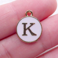 Letter K Charm Enamel Charm (1 piece / 13mm x 15mm / Gold & Pink) Alphabet Charm Initial Charm Personalised Jewellery Add On Charm CHM2301