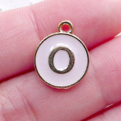 Alphabet O Charm Enamel Charm (1 piece / 13mm x 15mm / Gold & Pink) Initial Charm Letter Charm Personalised Jewellery Key Ring DIY CHM2305