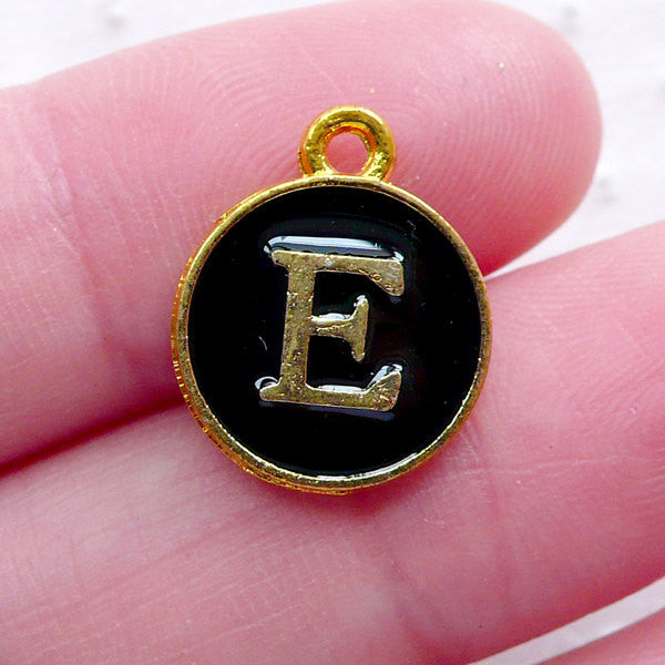 Alphabet E Charm (1 piece / 13mm x 15mm / Gold & Black / 2 Sided) Letter Enamel Charm Initial Charm Personalized Jewellery Keychain CHM2321