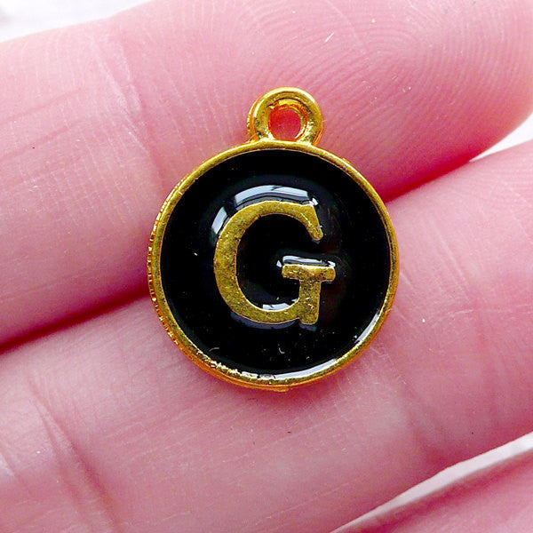 Letter G Charm (1 piece / 13mm x 15mm / Gold & Black / 2 Sided) Initial Enamel Charm Alphabet Charm Personalised Jewellery Gift Deco CHM2323