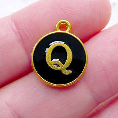Alphabet Q Charm (1 piece / 13mm x 15mm / Gold & Black / 2 Sided) Letter Enamel Charm Initial Charm Personalized Keyring Making CHM2333
