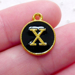 Initial X Charm (1 piece / 13mm x 15mm / Gold & Black / 2 Sided) Letter Enamel Charm Alphabet Charm Personalised Necklace Making CHM2340