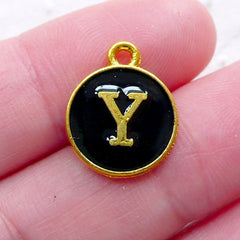 Letter Y Charm (1 piece / 13mm x 15mm / Gold & Black / 2 Sided) Initial Enamel Charm Alphabet Charm Personalized Earrings Making CHM2341