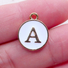 Alphabet A Charm (1 piece / 13mm x 15mm / Gold & White) Letter Charm Initial Enamel Charm Personalised Bracelet Necklace Making CHM2343