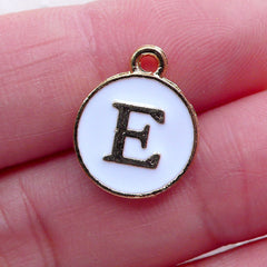 Initial E Charm (1 piece / 13mm x 15mm / Gold & White) Alphabet Charm Letter Enamel Charm Personalised Decoration Favor Packaging CHM2347